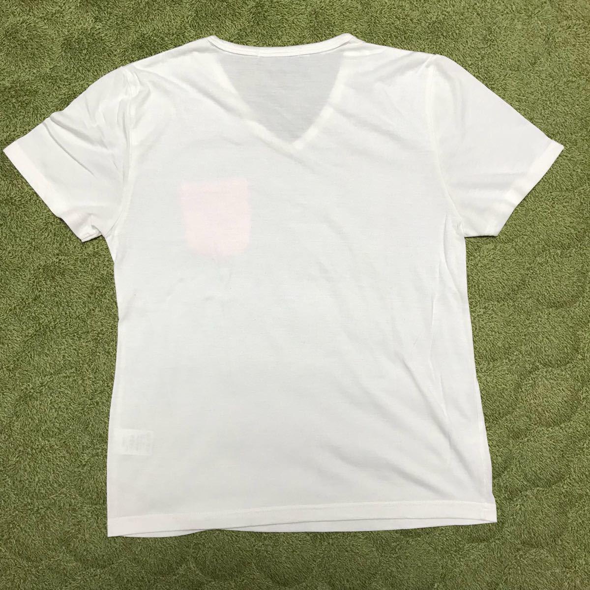 白 半袖 Tシャツ Vネック メンズ M レディースとしても