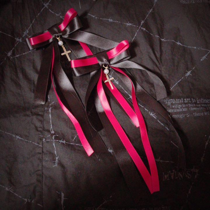 ゆらめき十字架リボン 赤 二個セット ヘアアクセサリー ヘアピン ヘアクリップ ゴスロリ ロリータ メイド クラロリ ゆめかわいい_画像1