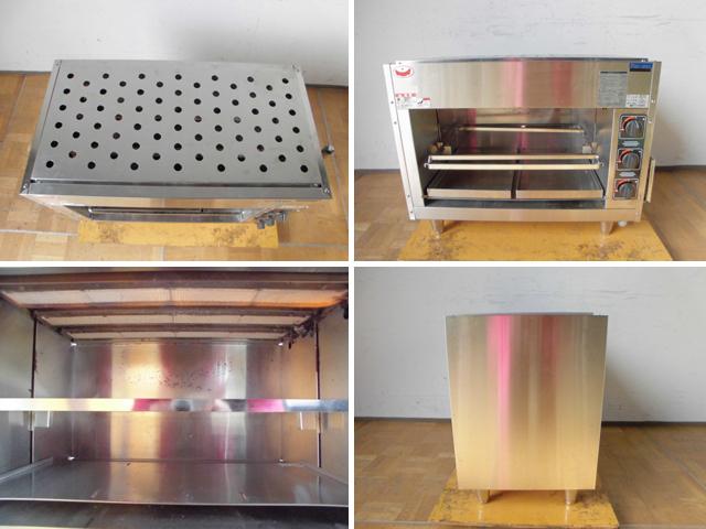 中古厨房 マルゼン 業務用 ガス上火式グリラー 焼物器 MGK-084UB スピードグリラー 赤外線バーナー 圧電式自動点火 都市ガス 2015年製_画像2