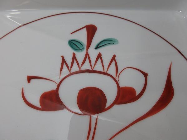 IF05322【平安 たち吉 赤絵 大皿 四方皿 共箱有】検)橘吉 和食器 盛皿 器 四角皿 角皿 古物 和物 来客 レトロ 料理屋 料亭 花図 古玩 ii_画像8