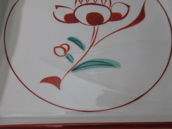 IF05322【平安 たち吉 赤絵 大皿 四方皿 共箱有】検)橘吉 和食器 盛皿 器 四角皿 角皿 古物 和物 来客 レトロ 料理屋 料亭 花図 古玩 ii_画像9