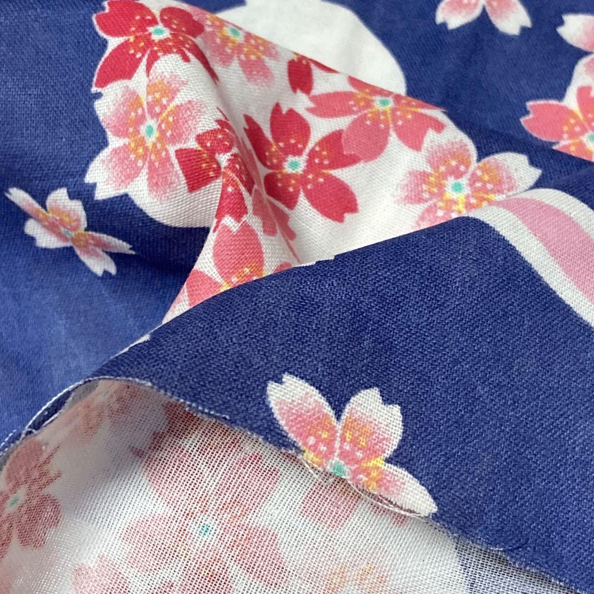 ダブルガーゼ ネイビーウサギ桜 150cm×100cm送料込_画像2