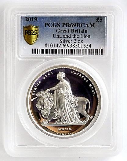 イギリス 2019 ウナとライオン リマスター プルーフ 5ポンド 銀貨 2オンス PR69 PCGS 準最高鑑定 ヴィクトリア 英国 金貨と同図柄
