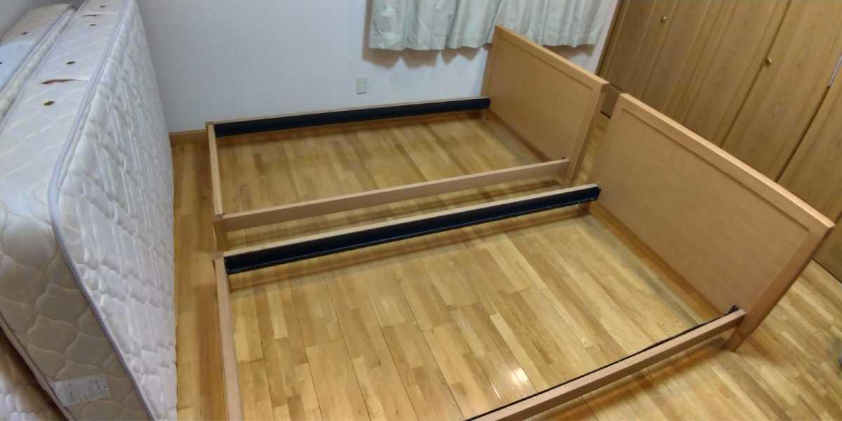 旭川家具 シングルベッド 2台セット カンディハウス 直接引き取り限定 USED マットレス付き_画像3