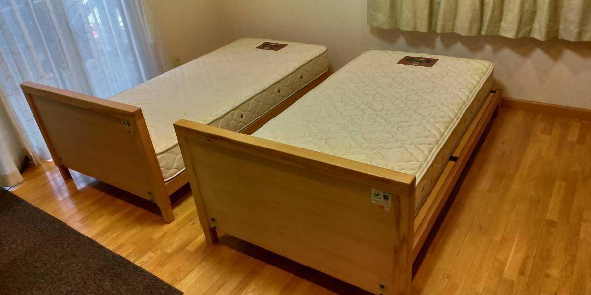 旭川家具 シングルベッド 2台セット カンディハウス 直接引き取り限定 USED マットレス付き_画像1
