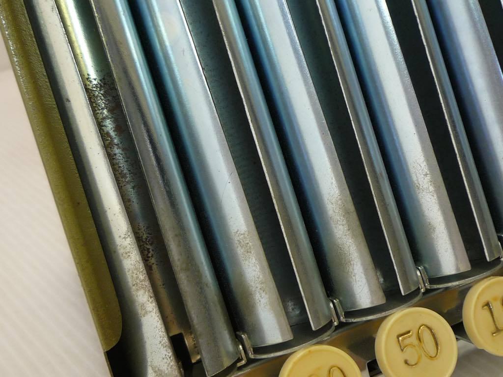 未使用保管品 自動選別硬貨釣銭器 キャッシュカウンター 昭和レトロ アンティーク レジ インテリア 箱 希少品 約横21x高さ26x奥行17cm_サビあり