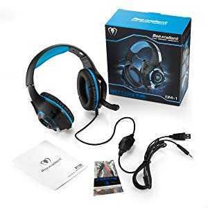ゲーミングヘッドセット PS4ヘッドセット 高音質 マイク付 3.5mm 軽量 耐久 伸縮可能 (ブルー)_画像1