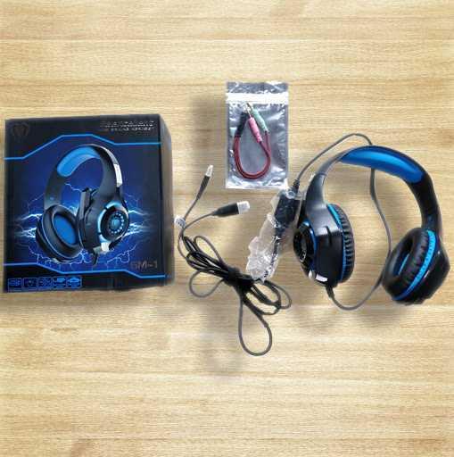 ゲーミングヘッドセット PS4ヘッドセット 高音質 マイク付 3.5mm 軽量 耐久 伸縮可能 (ブルー)_画像7