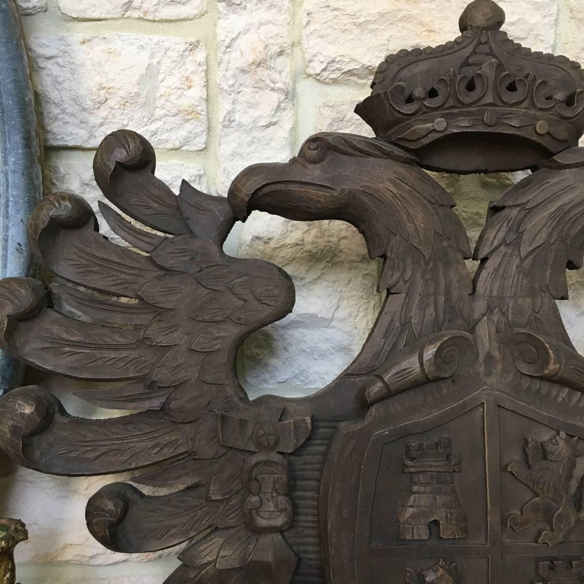 フランスアンティーク イーグル オブジェ 壁掛け 木製 ウッドオブジェ アンティーク家具 アンティーク ヨーロッパ 重厚_画像2