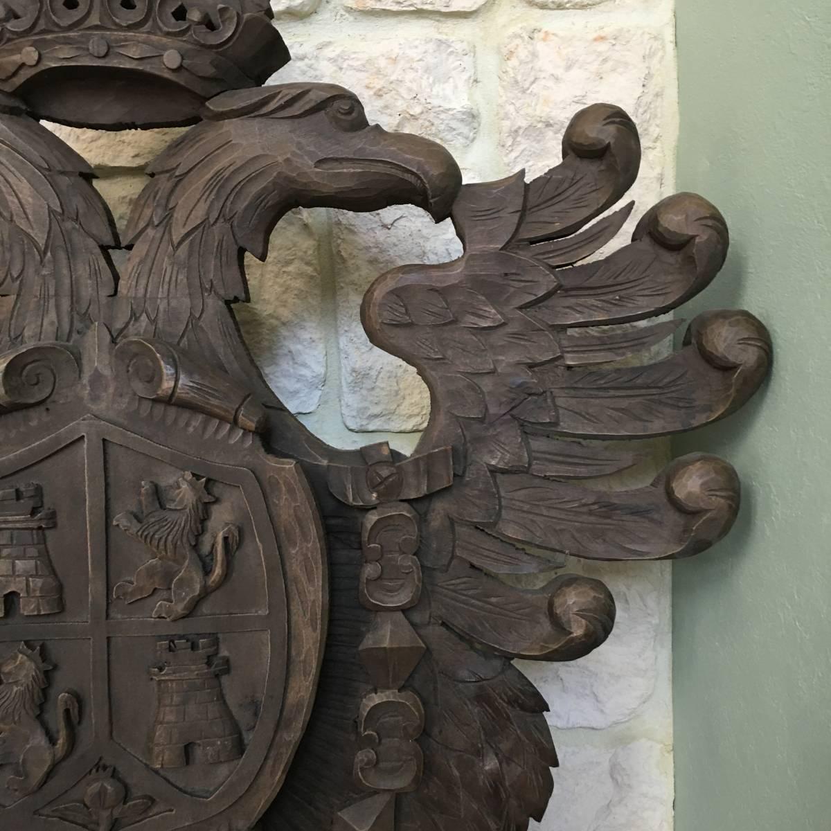 フランスアンティーク イーグル オブジェ 壁掛け 木製 ウッドオブジェ アンティーク家具 アンティーク ヨーロッパ 重厚_画像3