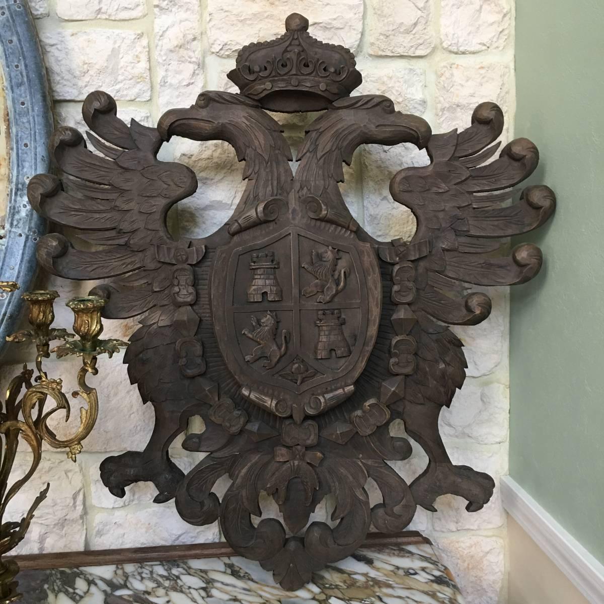 フランスアンティーク イーグル オブジェ 壁掛け 木製 ウッドオブジェ アンティーク家具 アンティーク ヨーロッパ 重厚_画像1