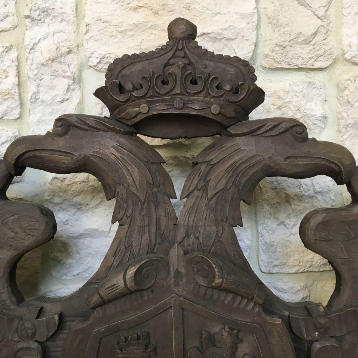 フランスアンティーク イーグル オブジェ 壁掛け 木製 ウッドオブジェ アンティーク家具 アンティーク ヨーロッパ 重厚_画像6