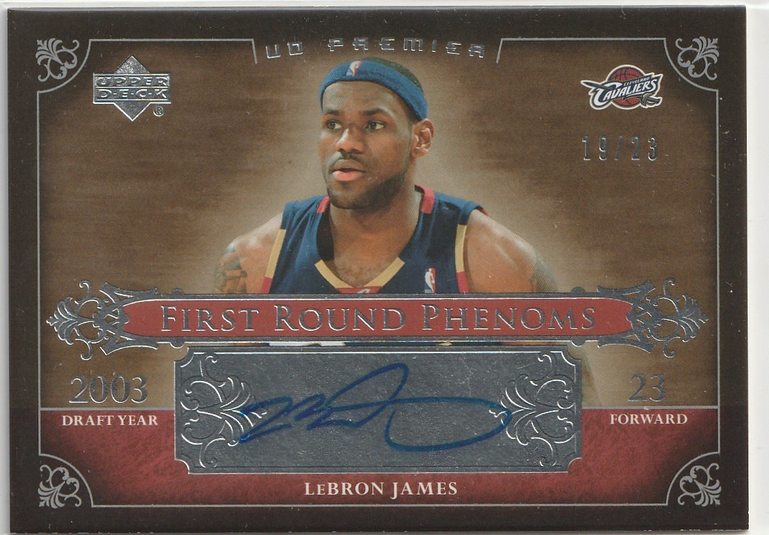 2007-08 UPPER DECK Lebron James UD PREMIER FIRST ROUND PHENOMS Auto 直筆サインカード /23 SP CAVALIERS LAKERS_画像1