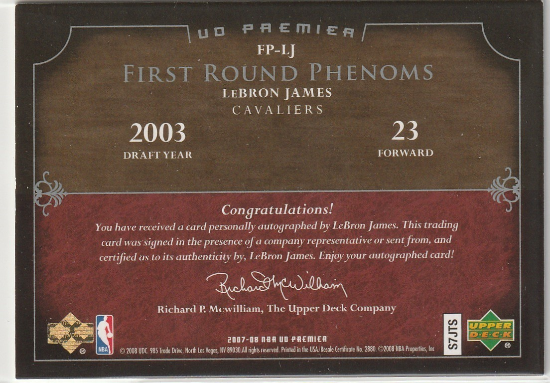 2007-08 UPPER DECK Lebron James UD PREMIER FIRST ROUND PHENOMS Auto 直筆サインカード /23 SP CAVALIERS LAKERS_画像2
