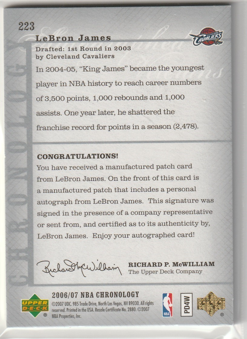 2006-07 UPPER DECK Lebron James CHRONOLOGY LETTERMEN PATCH Auto 直筆サインカード /40 CAVALIERS LAKERS_画像2