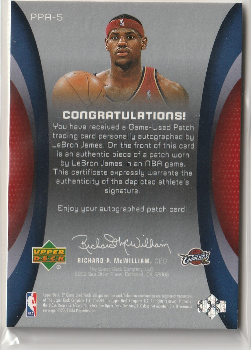 2003-04 UPPER DECK Lebron James SP GAME USED UD ALL STAR PATCH ROOKIE Auto 直筆サインカード /10 RC CAVALIERS LAKERS_画像2
