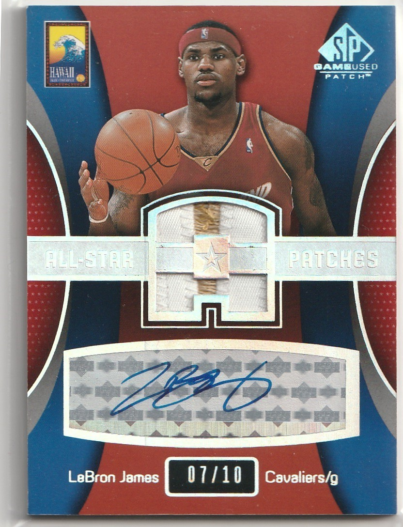 2003-04 UPPER DECK Lebron James SP GAME USED UD ALL STAR PATCH ROOKIE Auto 直筆サインカード /10 RC CAVALIERS LAKERS_画像1