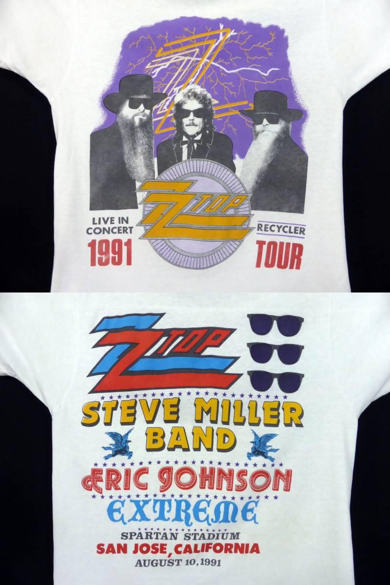 激レア!! 90s ビンテージ【ZZ TOP】91年 ツアー バンドTシャツ ZZトップ 白 STEVE MILLER ERIC GOHNSON EXTREME_画像4