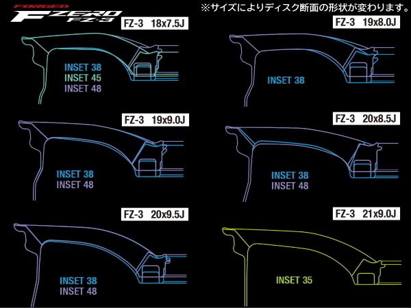 鍛造 軽量 F ZERO FZ-3 20インチ F:8.5J/+38 R:9.5J/+48 & ブリヂストン REGNO GR-X2 F:245/40R20 R:275/35R20*日産 フーガ Y51系 4POT対応_画像3