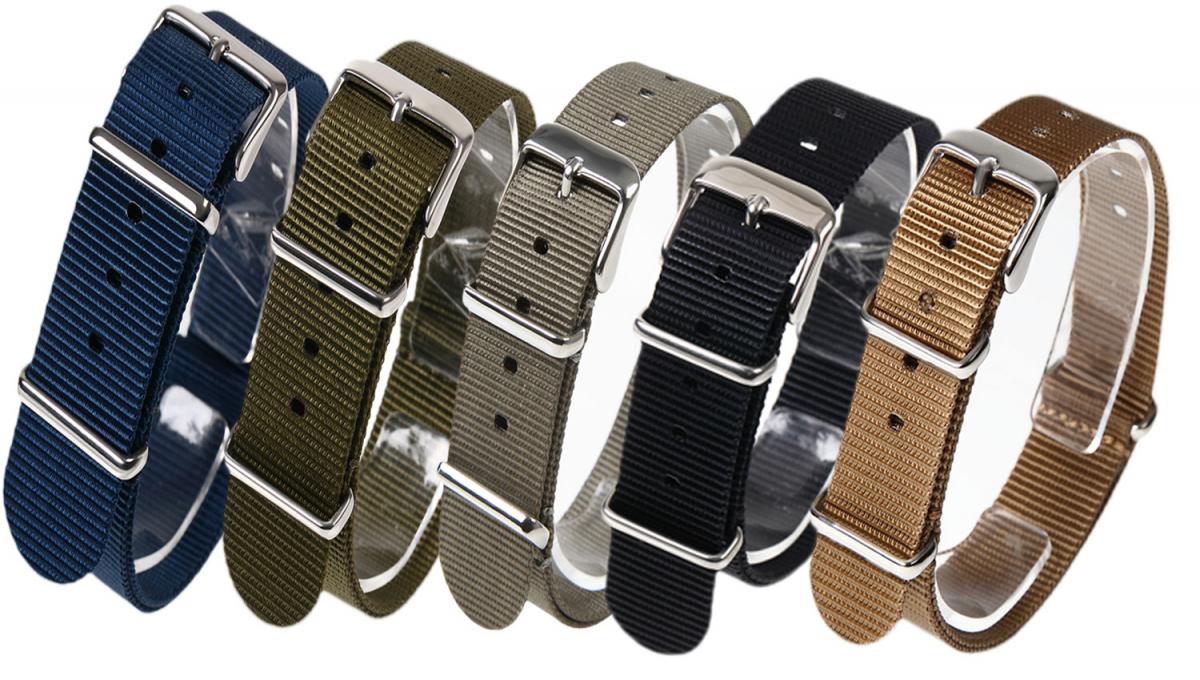 時計ベルト NATO シルバーバックル ショートサイズ 18mm 5本セット 取付けマニュアル 腕時計バンド_画像1