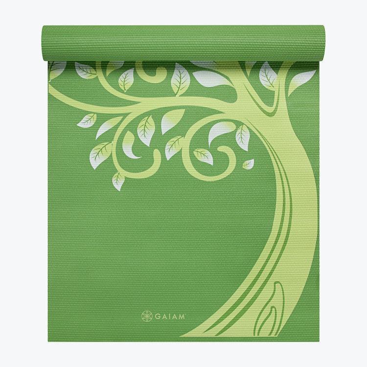 送料無料 gaiam ヨガマット TREE OF WISDOM MAT 4mm 緑 green エクササイズ ピラティス フィットネス 筋トレ