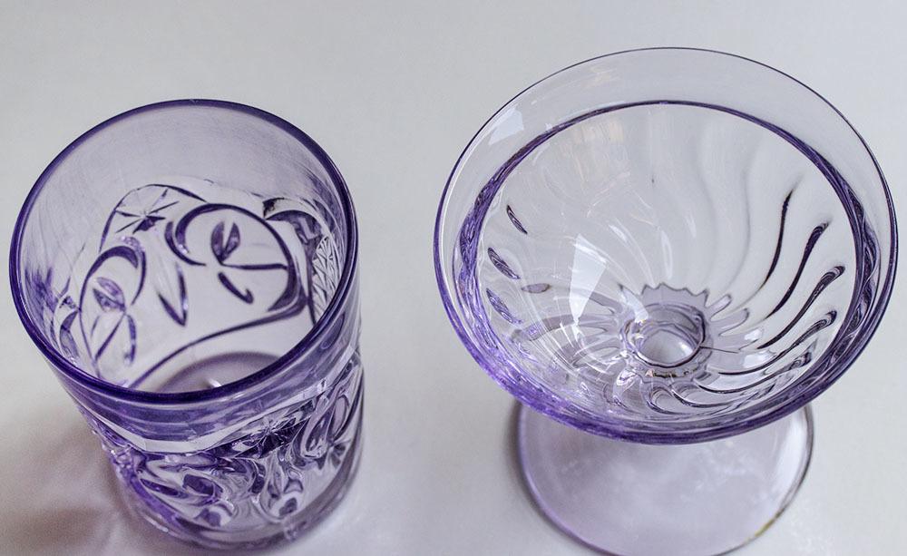 1900年初期 アーリーアメリカン パープル プレスグラス タンブラー シャーベットグラス 2個セット デザートグラス アンティーク アメリカ製_画像3