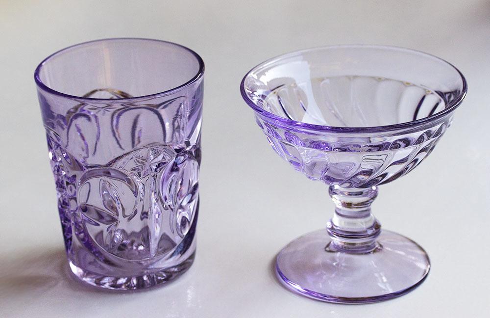 1900年初期 アーリーアメリカン パープル プレスグラス タンブラー シャーベットグラス 2個セット デザートグラス アンティーク アメリカ製_画像1
