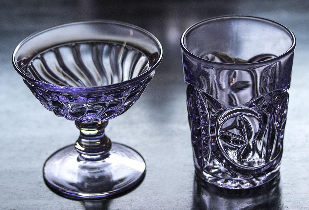 1900年初期 アーリーアメリカン パープル プレスグラス タンブラー シャーベットグラス 2個セット デザートグラス アンティーク アメリカ製_画像7