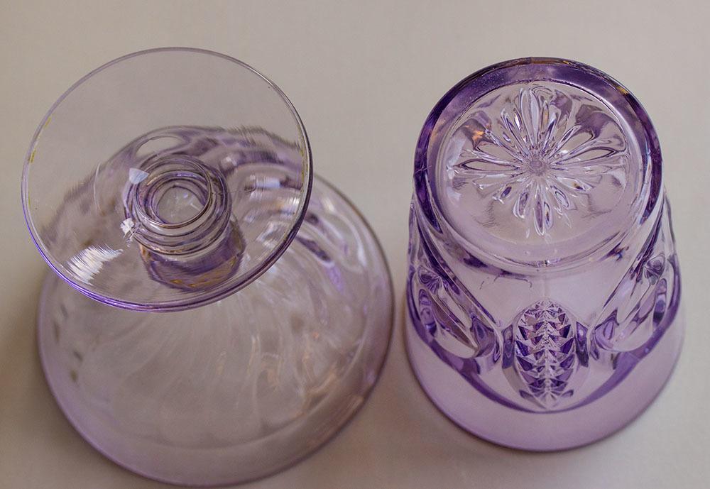1900年初期 アーリーアメリカン パープル プレスグラス タンブラー シャーベットグラス 2個セット デザートグラス アンティーク アメリカ製_画像5