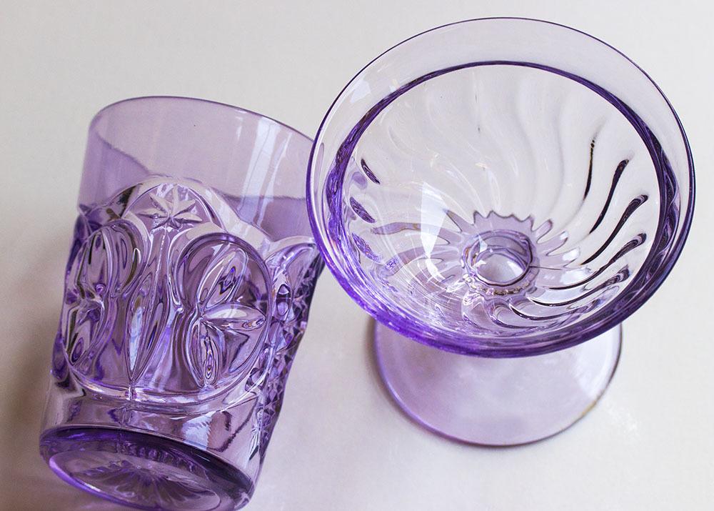 1900年初期 アーリーアメリカン パープル プレスグラス タンブラー シャーベットグラス 2個セット デザートグラス アンティーク アメリカ製_画像2