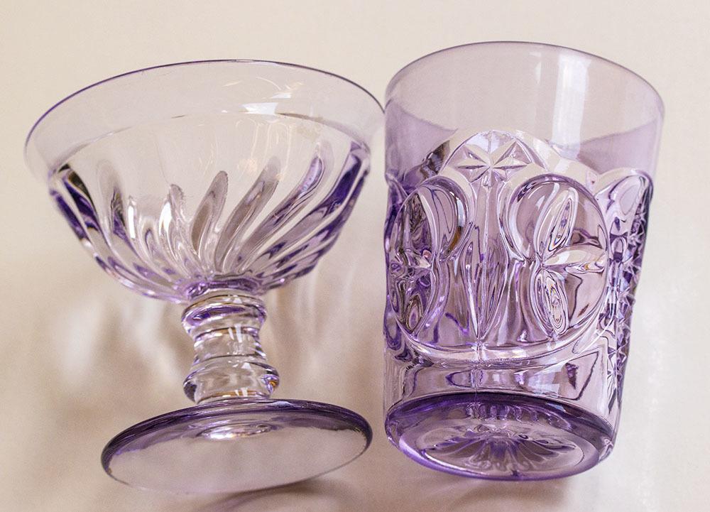 1900年初期 アーリーアメリカン パープル プレスグラス タンブラー シャーベットグラス 2個セット デザートグラス アンティーク アメリカ製_画像4