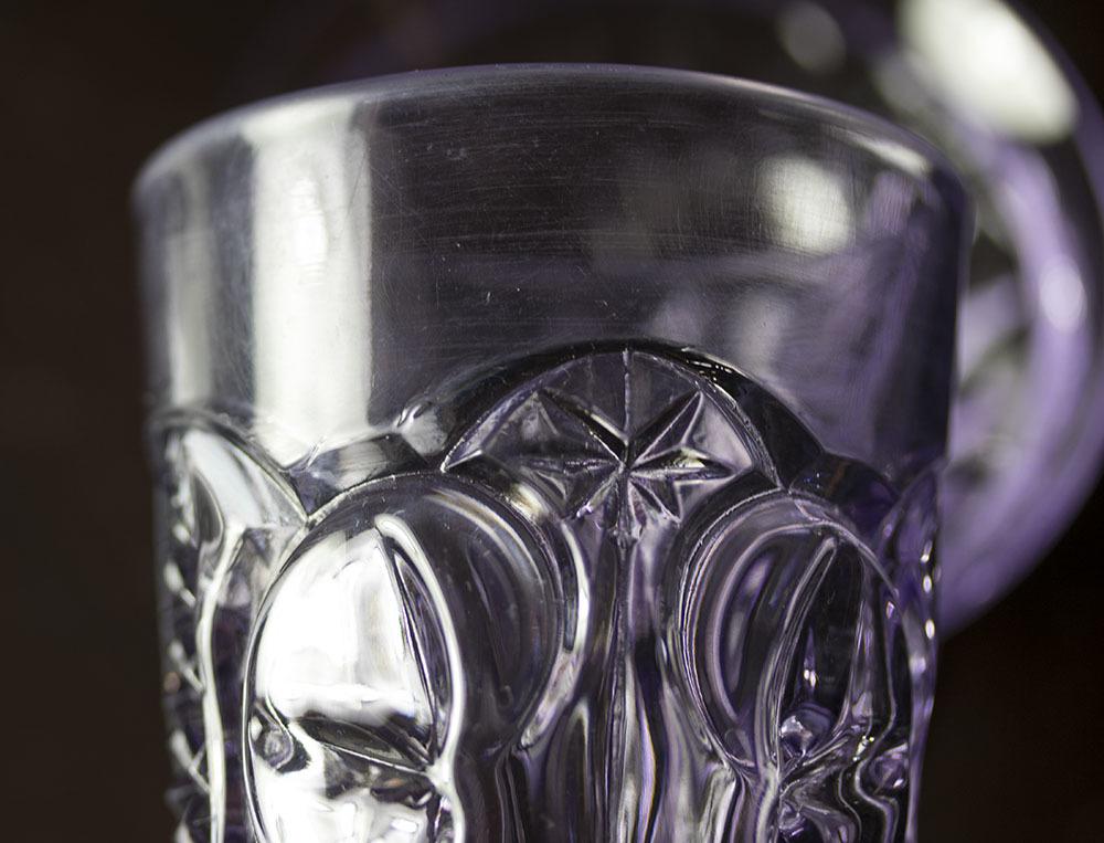 1900年初期 アーリーアメリカン パープル プレスグラス タンブラー シャーベットグラス 2個セット デザートグラス アンティーク アメリカ製_画像6