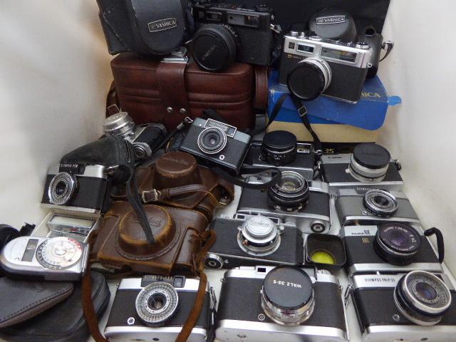 917☆カメラ ジャンク扱 オリンパス/フジカ GE/KONICA/WALZ 35-S/キヤノン Canonet 28/ミノルタ A5, repo/リコー/ヤシカ レンズ 1円~_画像1