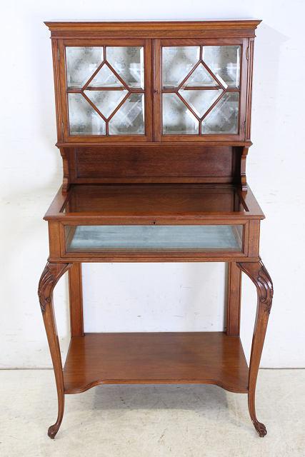 ショーケース 飾り棚 ce-82 1870年代 イギリス製 アンティーク ヴィクトリアン ウォルナット ショップショーケース キャビネット _画像2