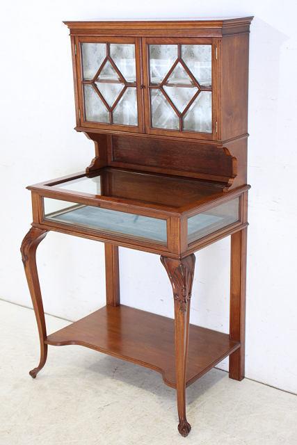 ショーケース 飾り棚 ce-82 1870年代 イギリス製 アンティーク ヴィクトリアン ウォルナット ショップショーケース キャビネット _画像3