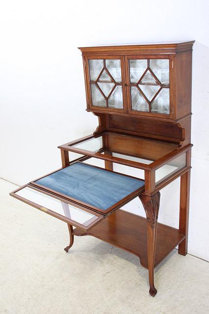 ショーケース 飾り棚 ce-82 1870年代 イギリス製 アンティーク ヴィクトリアン ウォルナット ショップショーケース キャビネット _画像7