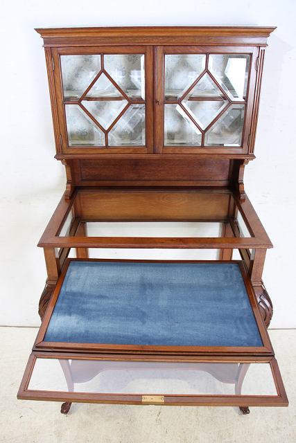 ショーケース 飾り棚 ce-82 1870年代 イギリス製 アンティーク ヴィクトリアン ウォルナット ショップショーケース キャビネット _画像8