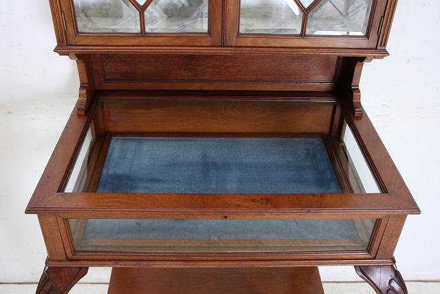 ショーケース 飾り棚 ce-82 1870年代 イギリス製 アンティーク ヴィクトリアン ウォルナット ショップショーケース キャビネット _画像5