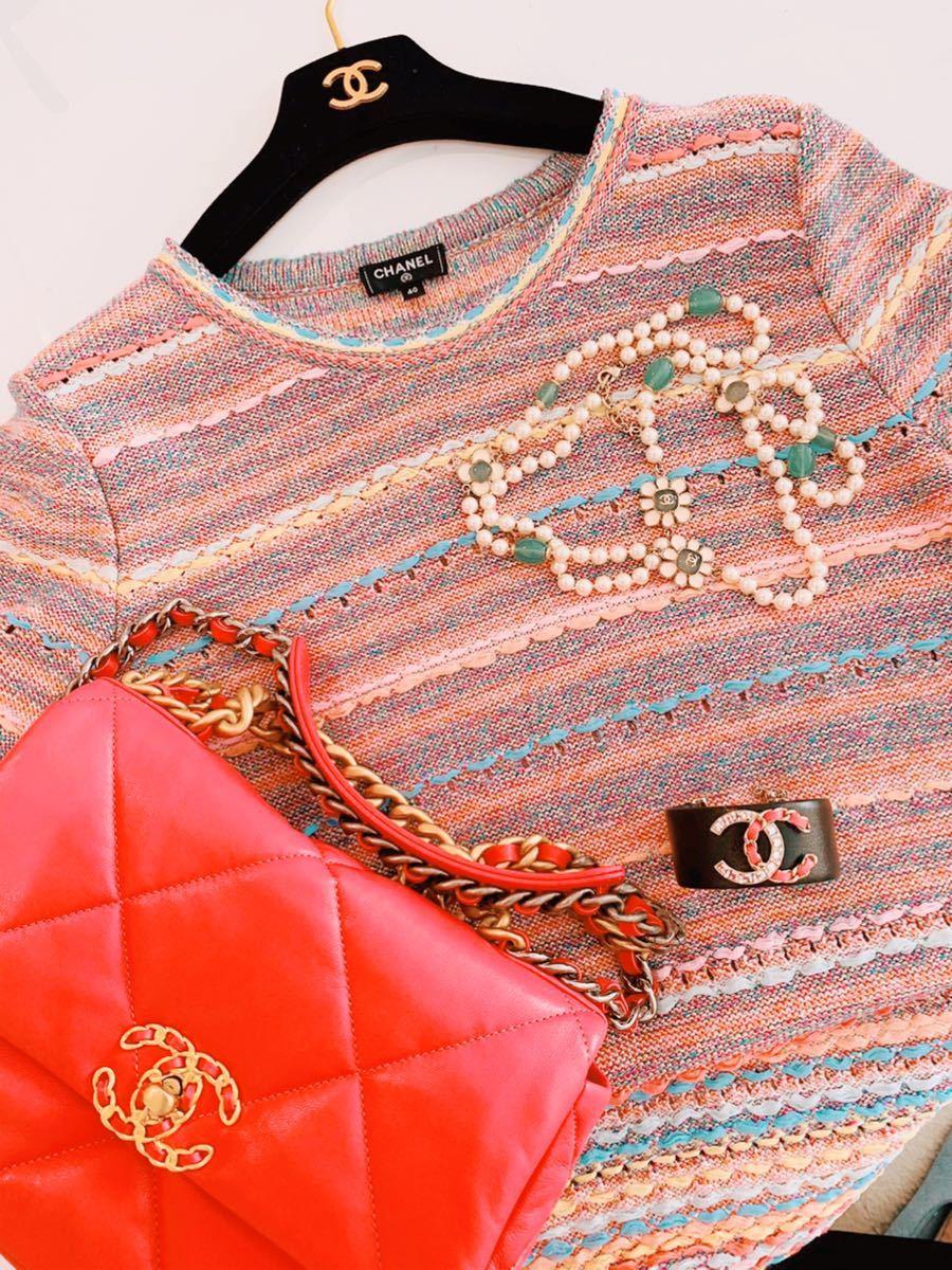 ◆CHANELニットツイードワンピース春夏◆ピンク系◆サイズ40◆未着用です!