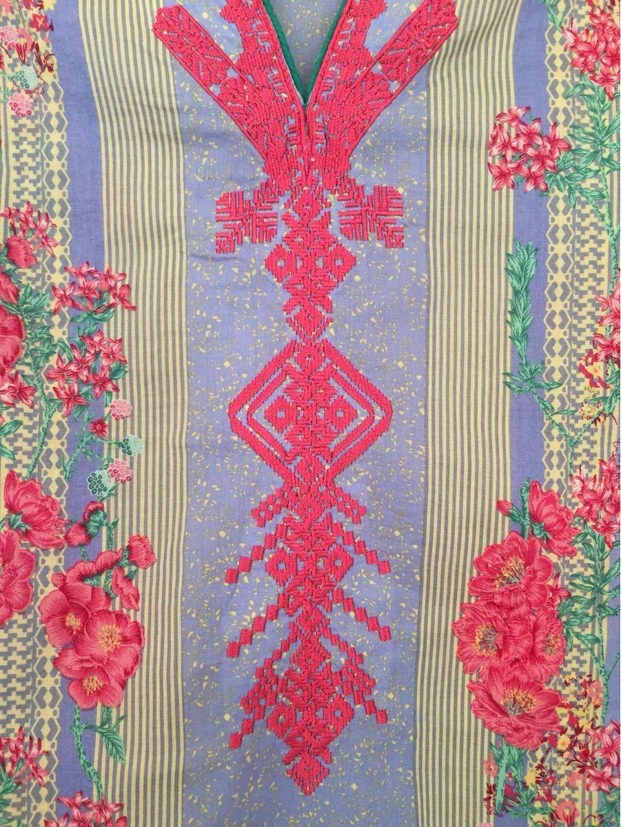 刺繍カットソー ETHNIC by outfitters 100%コットン