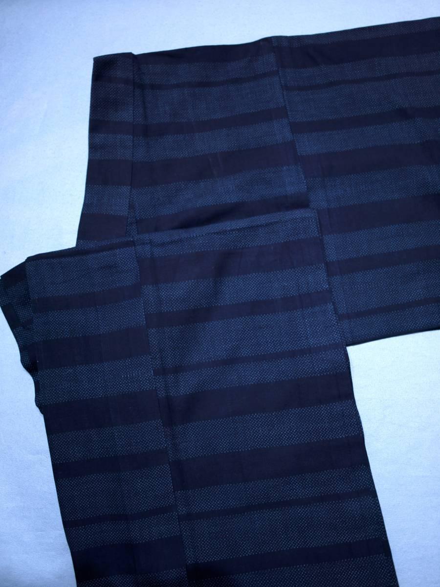 リサイクル着物 綿 単衣 蚊絣 横段 綿薩摩 リメイク用 素材用 普段着_画像1