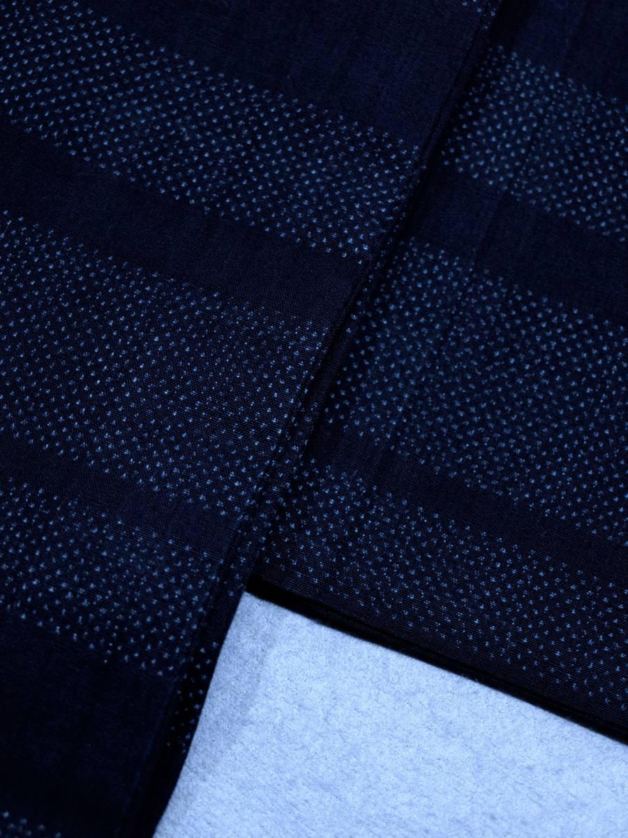 リサイクル着物 綿 単衣 蚊絣 横段 綿薩摩 リメイク用 素材用 普段着_画像2