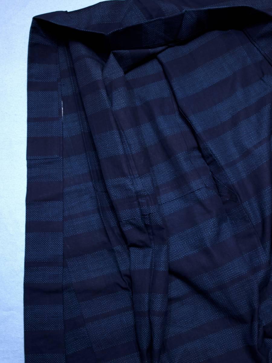リサイクル着物 綿 単衣 蚊絣 横段 綿薩摩 リメイク用 素材用 普段着_画像3