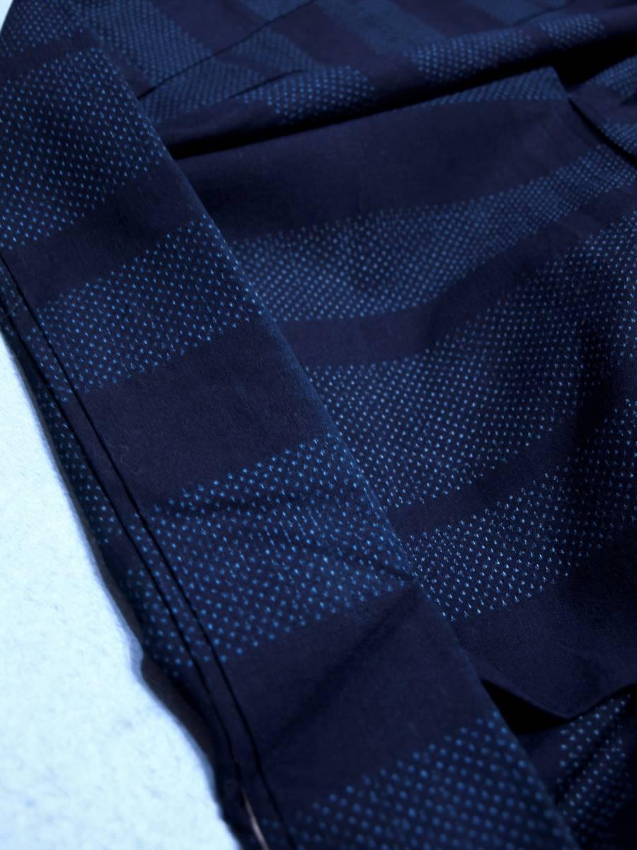リサイクル着物 綿 単衣 蚊絣 横段 綿薩摩 リメイク用 素材用 普段着_画像4