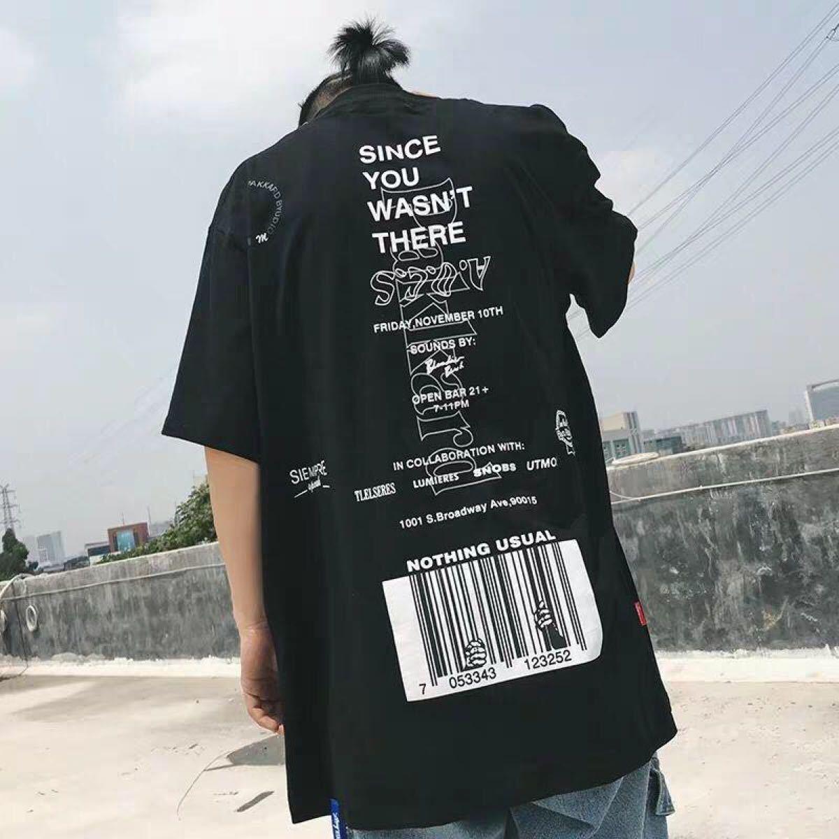半袖シャツ  バックプリント  新品未使用  大人気  男女兼用  バーコード