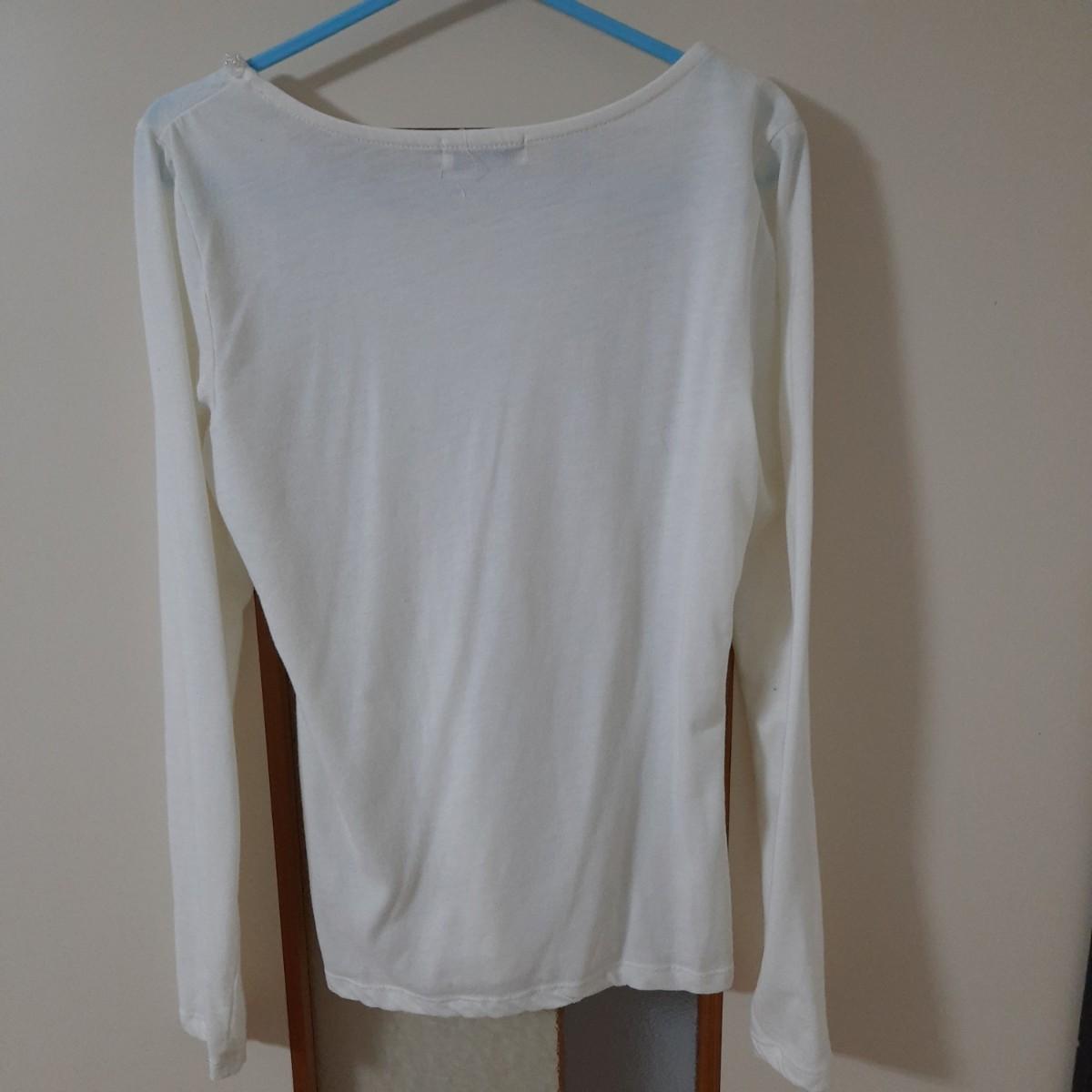 シャツ 無地 白 トップス レディース 長袖カットソー 服