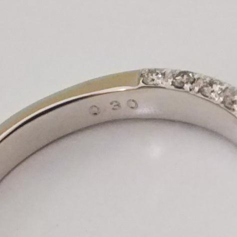 総重量約3.9g K18WG リング 指輪 ダイヤ0.30ct シンプル サイドエタニティ サイズ約13号_画像5