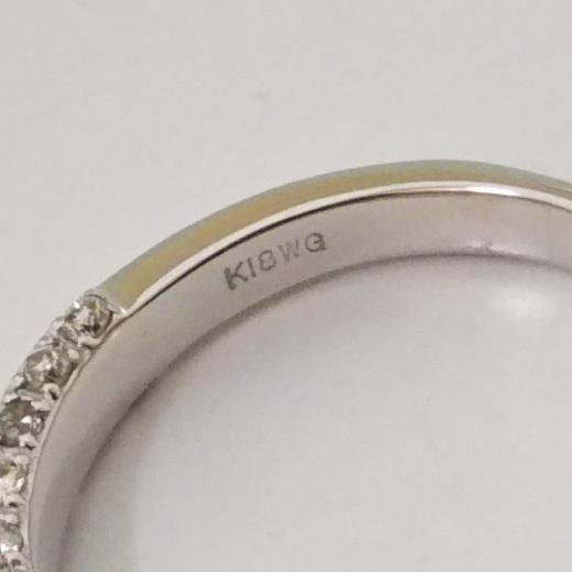 総重量約3.9g K18WG リング 指輪 ダイヤ0.30ct シンプル サイドエタニティ サイズ約13号_画像4
