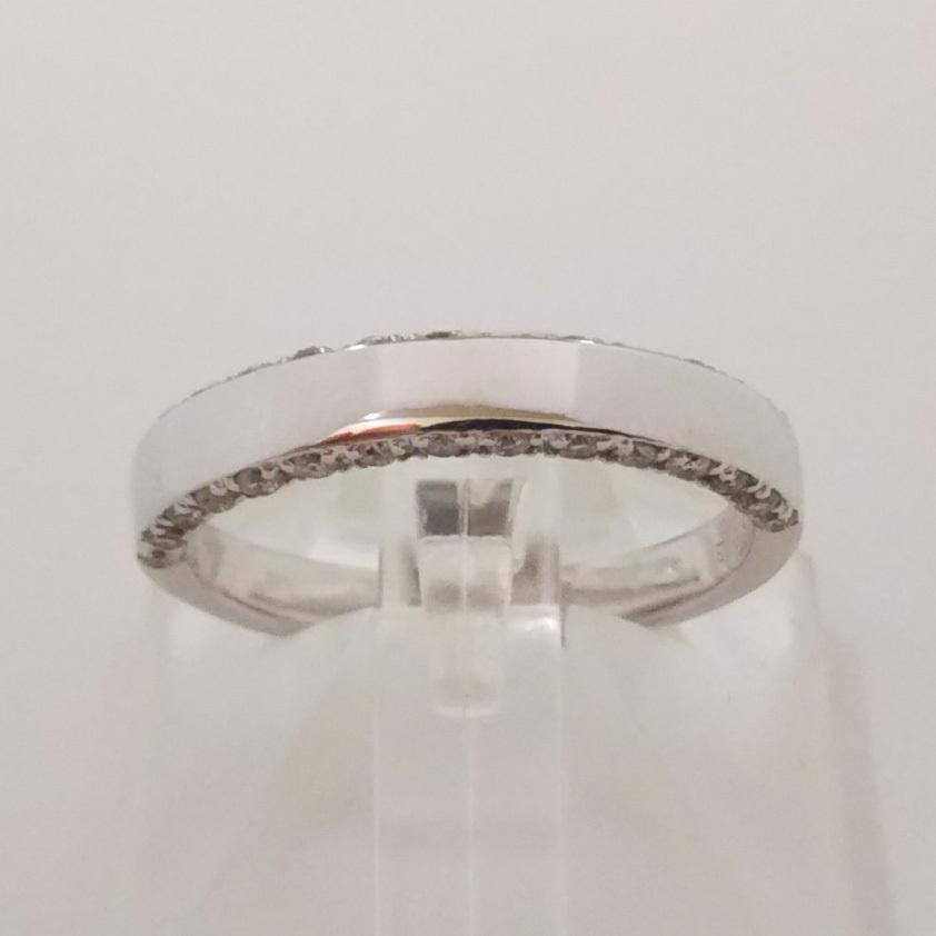 総重量約3.9g K18WG リング 指輪 ダイヤ0.30ct シンプル サイドエタニティ サイズ約13号_画像1