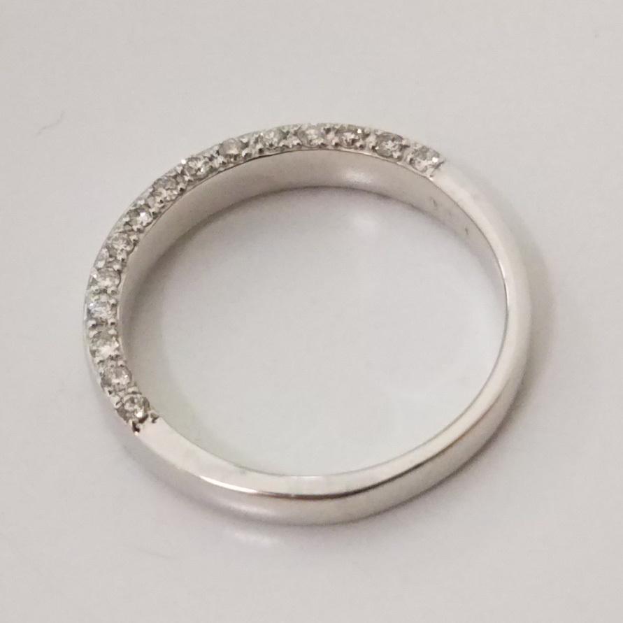 総重量約3.9g K18WG リング 指輪 ダイヤ0.30ct シンプル サイドエタニティ サイズ約13号_画像2